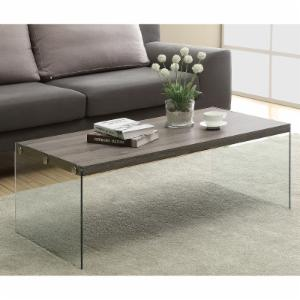 Monarch I 3054 Reclaimed-Look with Tempered Glass Cocktail Table - Dark Taupe