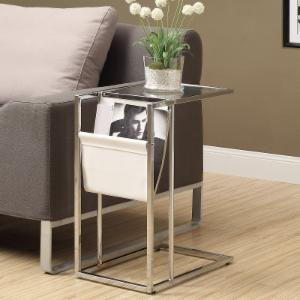 Monarch White and Chrome Metal Accent Table with Magazine Rack