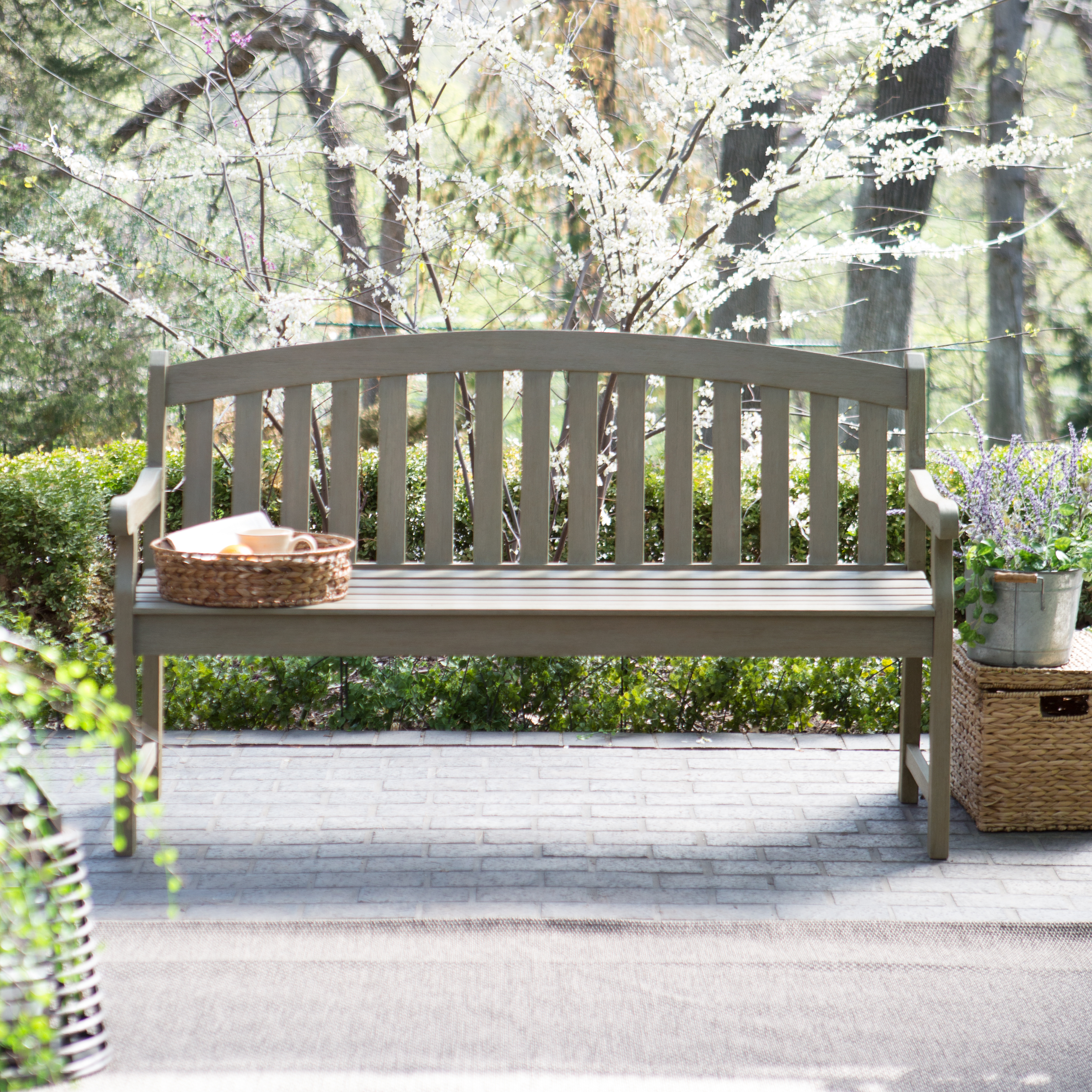 Outdoor wooden benches - Coral Coast Amherst Curved Back 5 Ft Outdoor Wood Garden Bench Driftwood