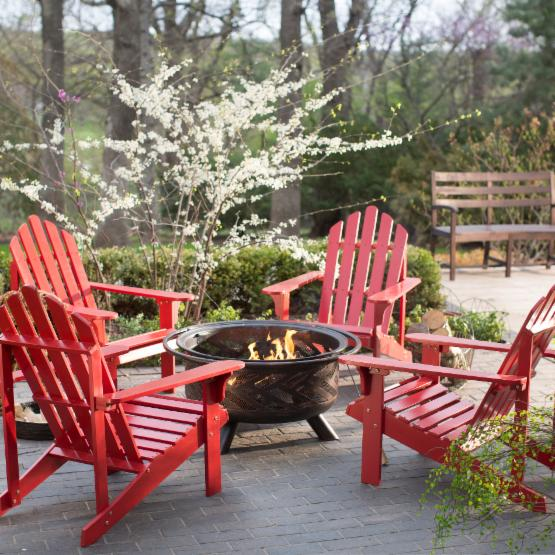 Coral Coast Pleasant Bay Adirondack Aspen Fire Pit Chat Set - Seating for 4