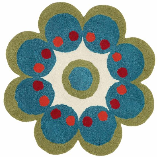 Dynamic Rugs Fantasia 1707 Turquoise Flower Kids Area Rug