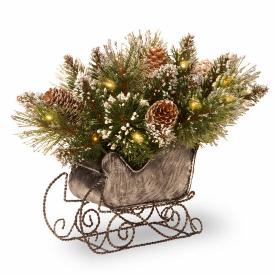 National Tree Company 14 in. Glittery Bristle Pine LED Pre-Lit Decorative Holiday Sleigh Centerpiece