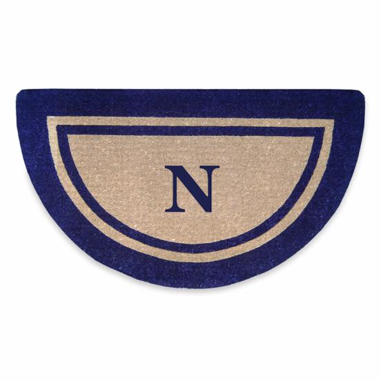 Nedia Home Heavy Duty Coir Doormat Half Round Double Picture Frame Navy with Optional Monogram