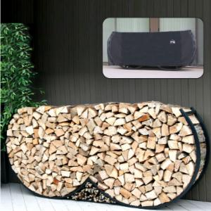 8 ft. Double Round Log Rack with Free Cover