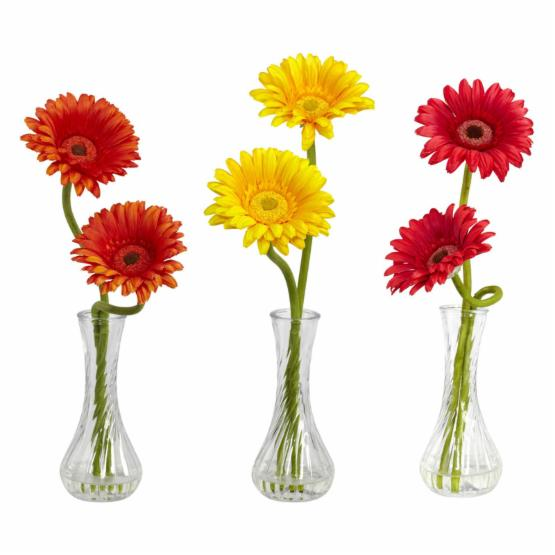 Gerber Daisy with Bud Vase Set of 3