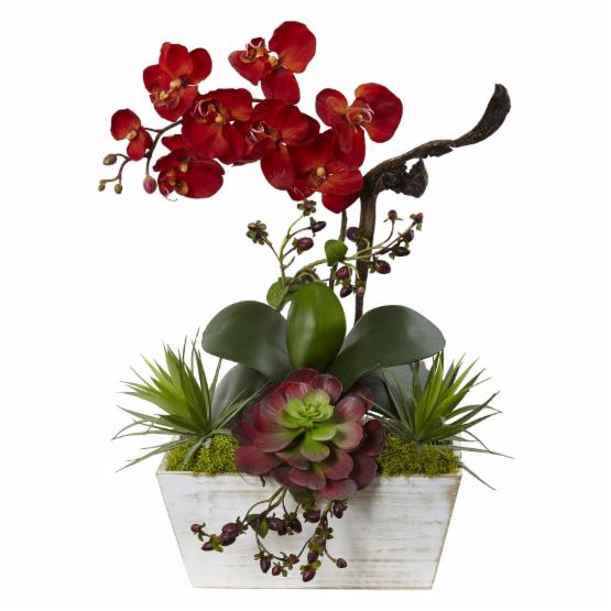 Nearly Natural Seasonal Orchid and Succulent Garden Silk Plant