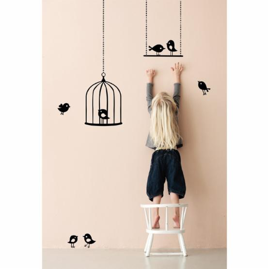 Tweeting Birds Wall Decal - Black