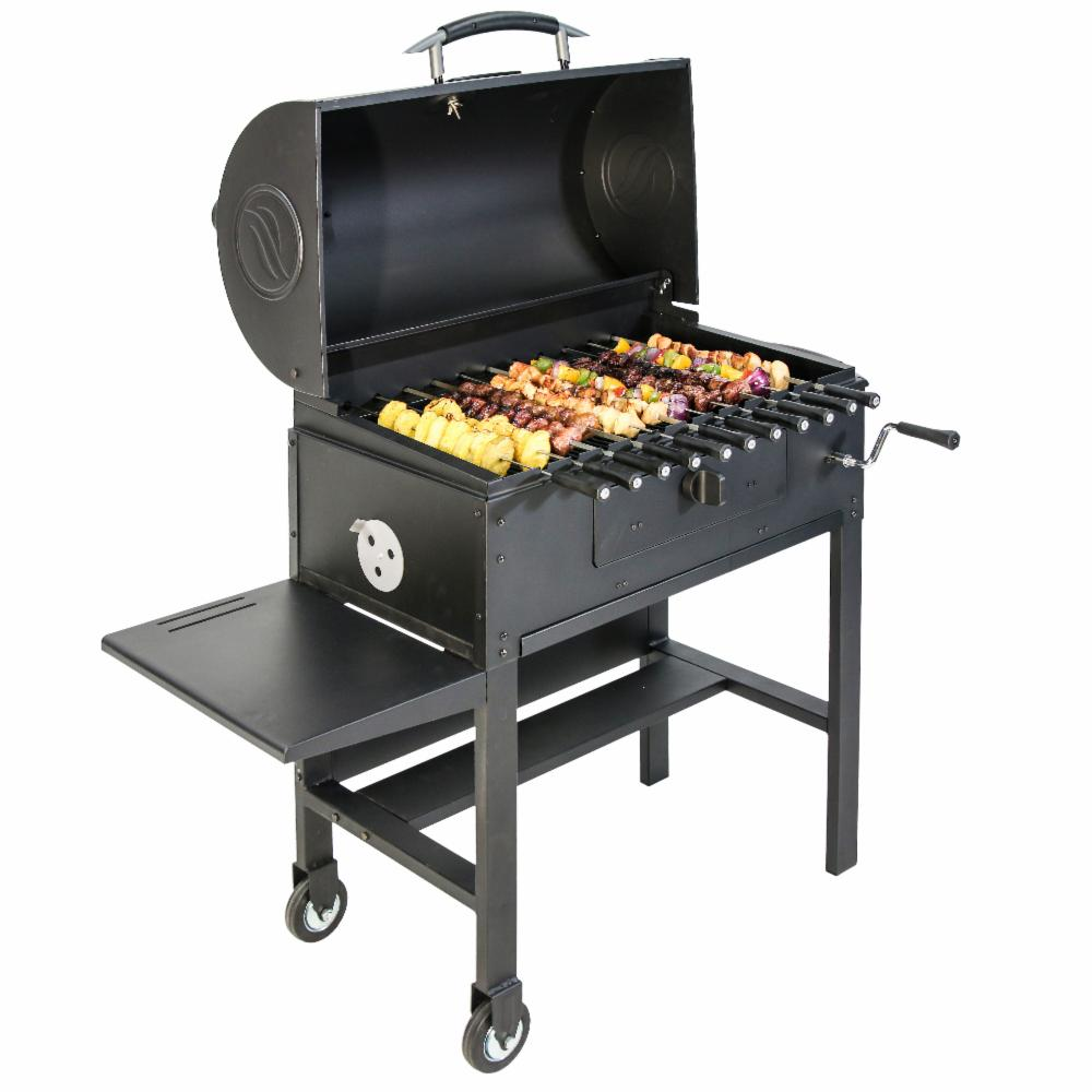 blackstone kabob charcoal grill 3 in 1 automatic rotisserie smoker barbecue ebay. Black Bedroom Furniture Sets. Home Design Ideas