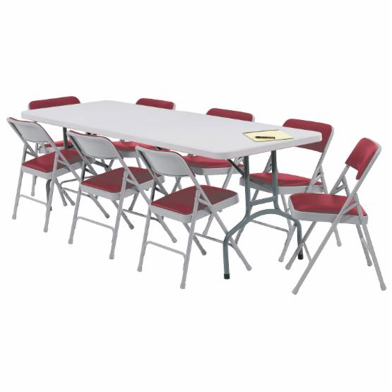 National Public Seating Blow Molded Banquet Table and Upholstered Chair 9 pc. Set