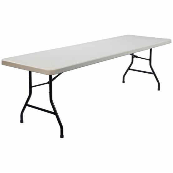 National Public Seating Commercialine 96 x 30 in. Rectangle Blow Molded Folding Table - White