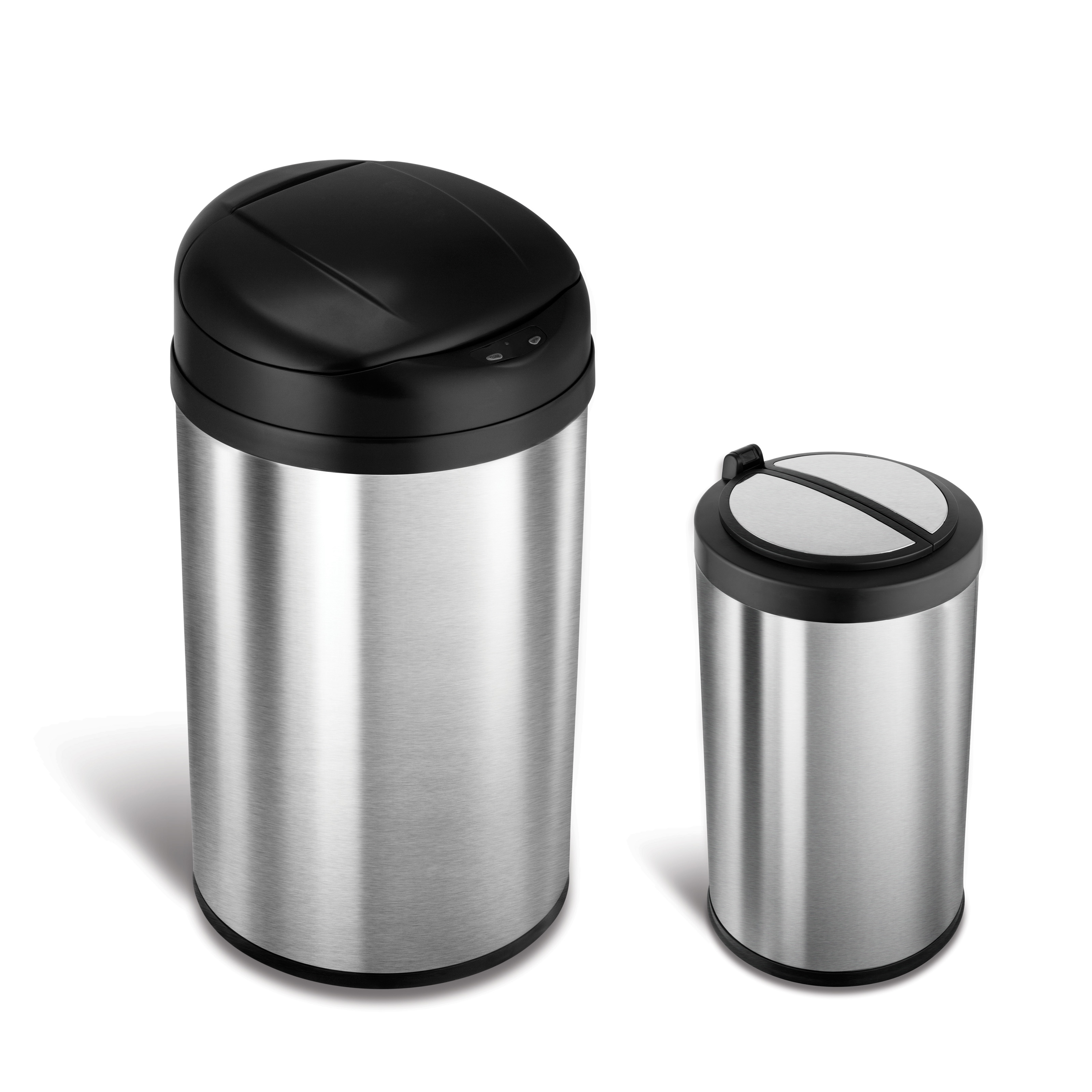 nine stars combo touchless stainless steel 132 and 21 gallon trash can hayneedle