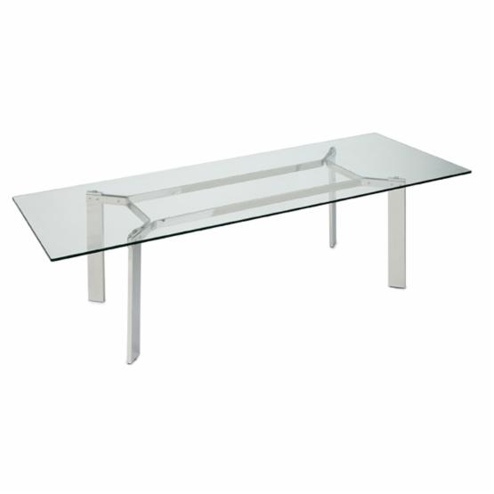 Nuevo Cross Rectangular Dining Table - Silver