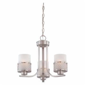 Nuvo Fusion 60/4687 3-Light Chandelier - 17.875W in. - Brushed Nickel