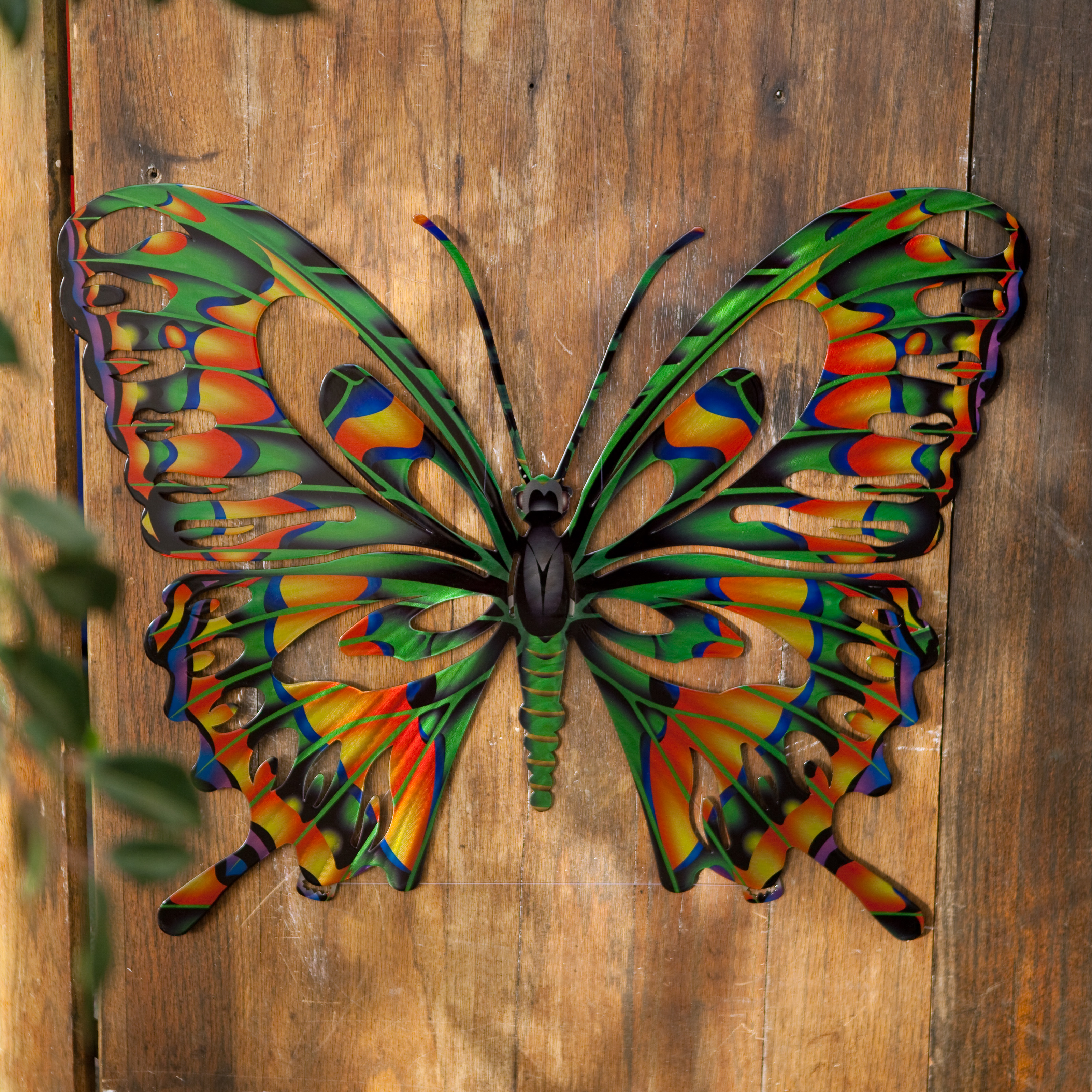 3D Butterfly Metal Outdoor Wall Art Multicolor   101110003