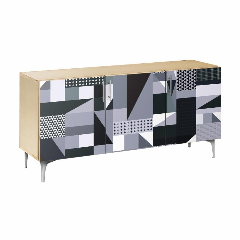 NyeKoncept Grayscale Patchwork Arc Sideboard - 13005045