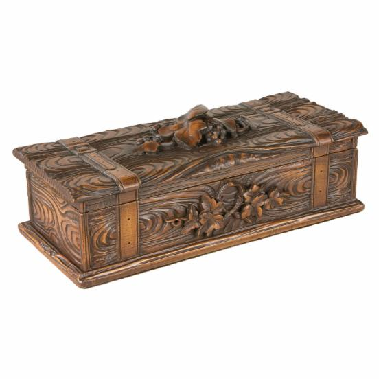 Carved Leaf & Belted Log Box - 10W x 3.5H in.