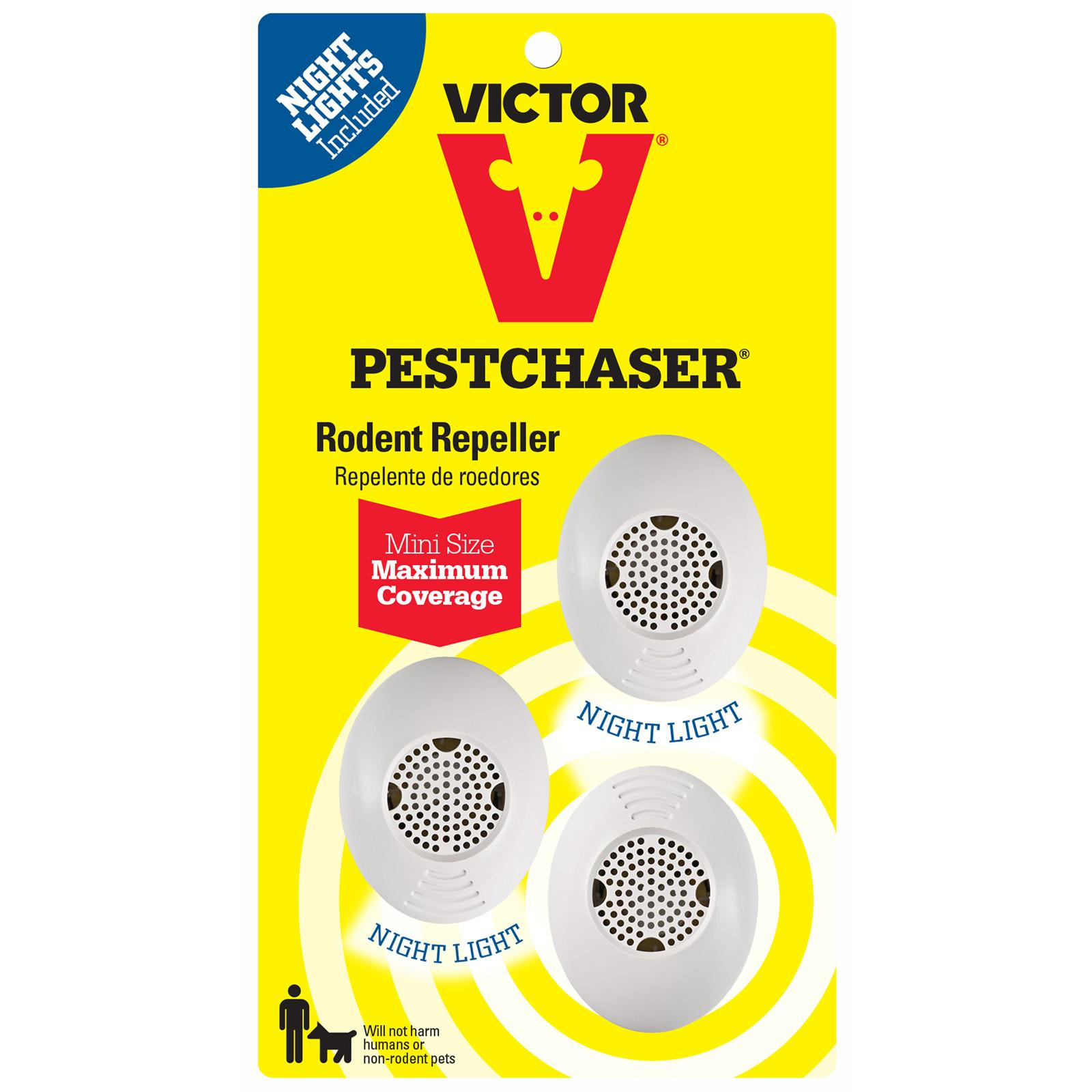 Victor 3-Pack Mini PestChaser Rodent Repeller with Nightl...