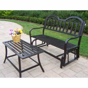 Oakland Living Rochester 2 pc. Iron Outdoor Glider Bench and Coffee Table Set