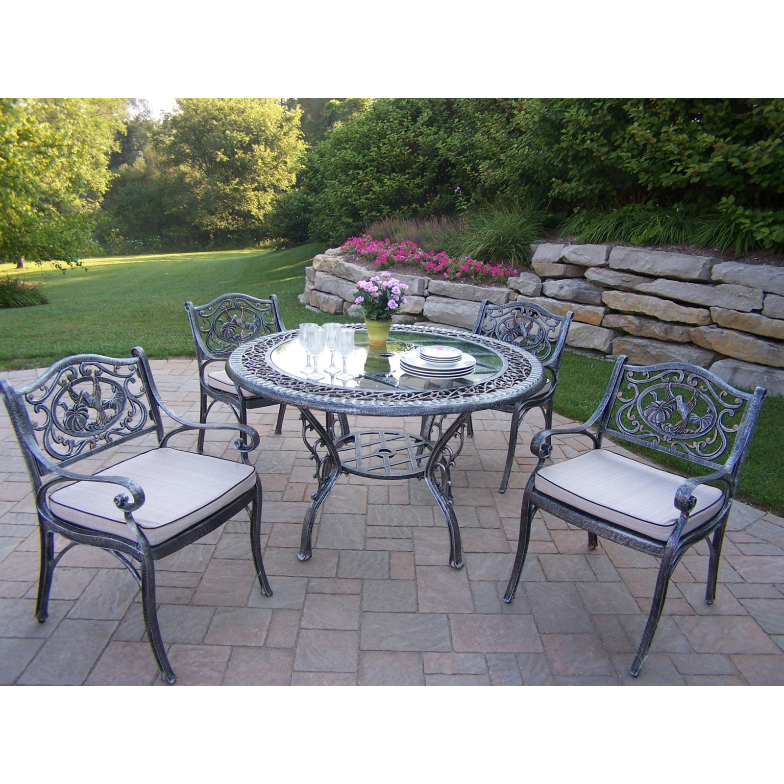 Oakland Living Mississippi Cast Aluminum 82 x 42 in Patio Dining
