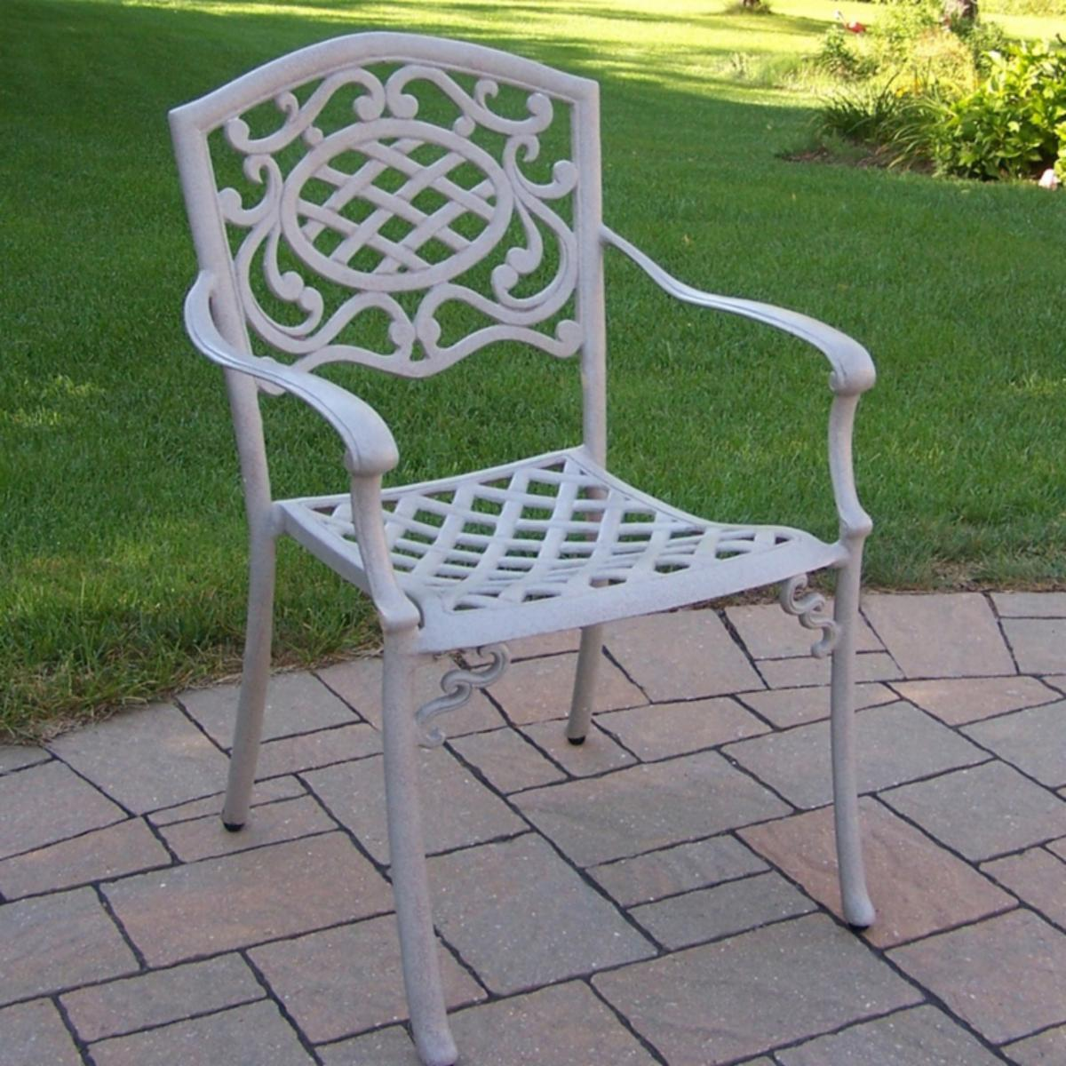 Oakland Living Mississippi Cast Aluminum Fully Welded Dining Arm Chair   Beach Sand   Outdoor Dining Chairs