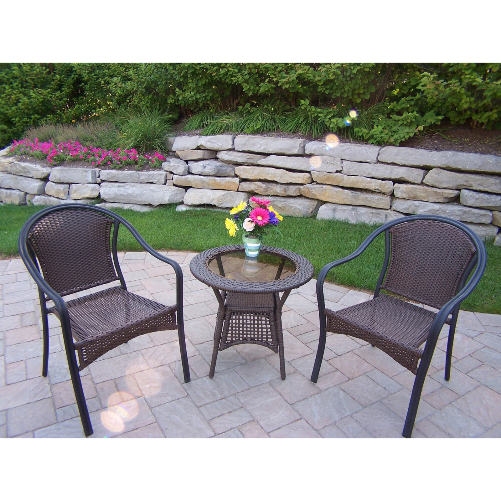 Oakland Living Tuscany All-Weather Wicker Patio Bistro Set ... on Oakland Living Bistro Set id=41639