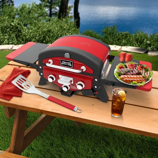 Smoke Hollow Vector 3 Burner Propane Gas Tabletop Grill with Side Tables