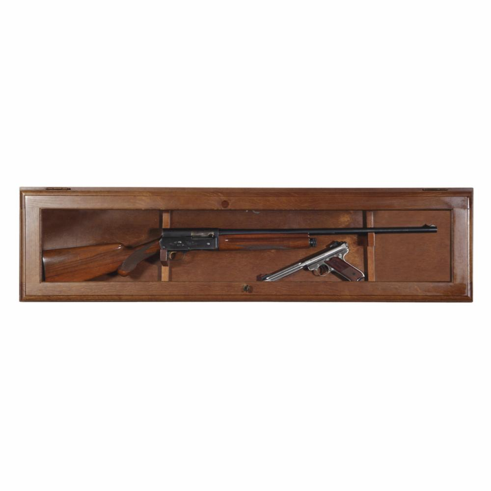 Gun Collector Display Cabinet Wall Mount Rack Wood Case Rifle