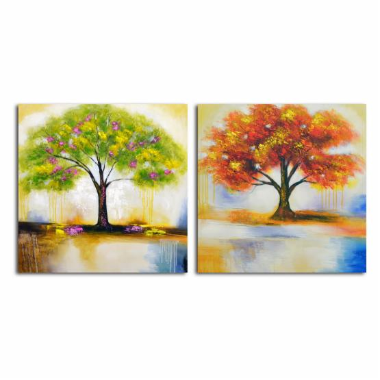 Omax Spring Tree and Autumn Leaves Painting on Canvas - 64W x 32H in.