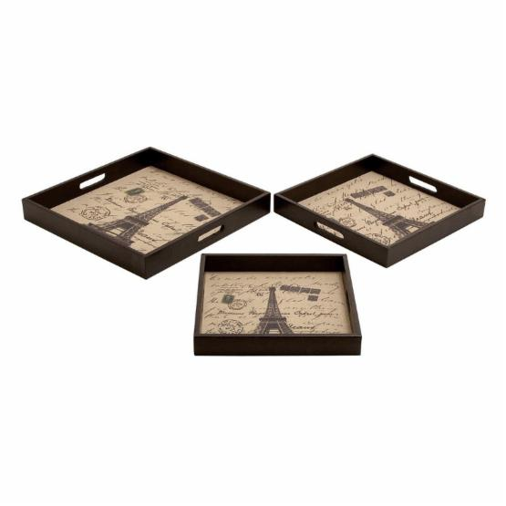 Ore International Paris Leather Tray - Set of 3