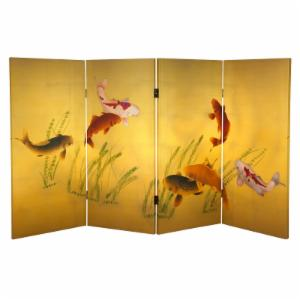 Oriental Furniture Double Sided Seven Lucky Fish Canvas 4 Panel Room Divider