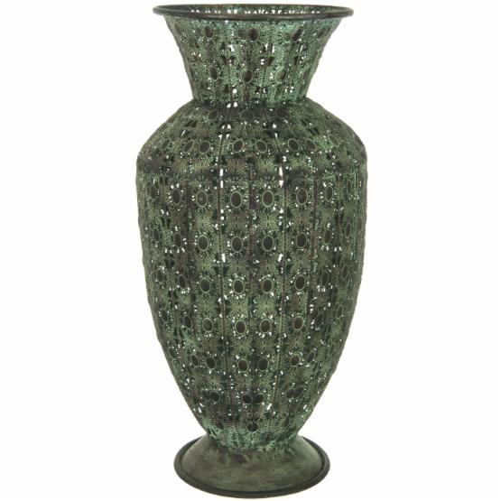 Oriental Furniture Wrought Iron Fluted Display Vase