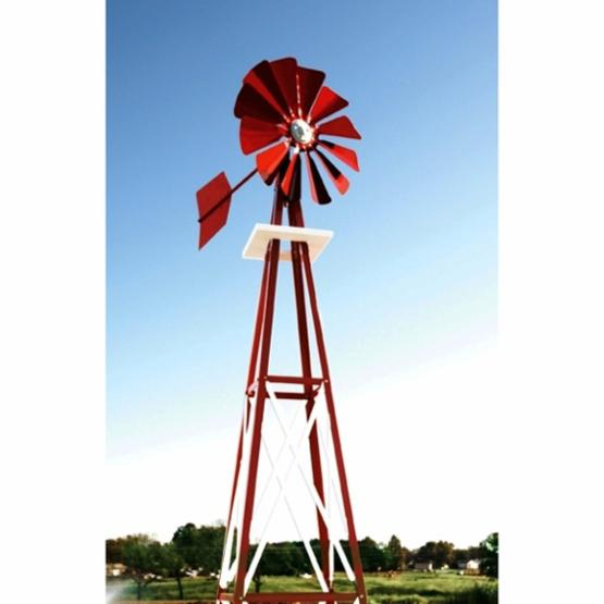 Decorative Red and White Powder Coated Metal Backyard Windmill