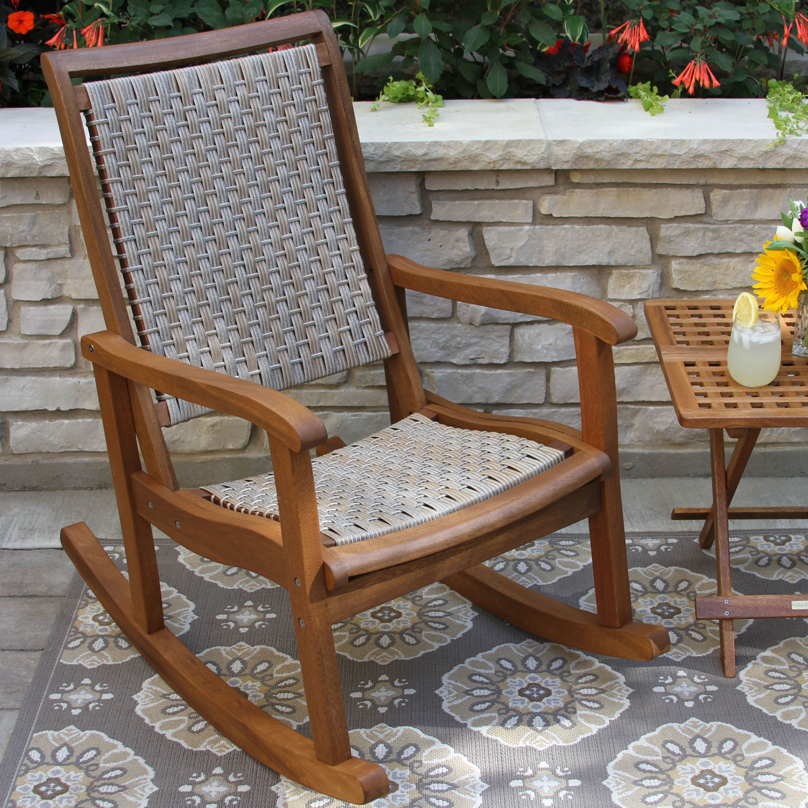 POLYWOOD Jefferson Recycled Plastic Rocking Chair with Woven Seat
