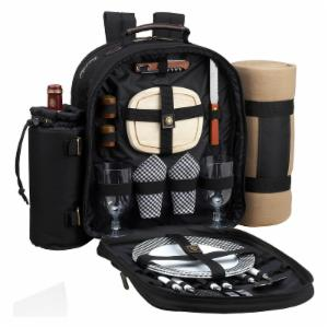 Picnic At Ascot Classic Picnic Backpack with Picnic Blanket for 2 - Black
