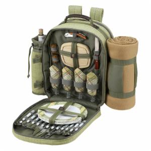 Picnic At Ascot Hamptons Backpack with Picnic Blanket for 4 - Olive Green