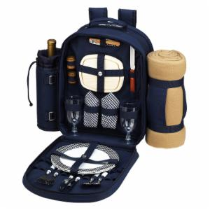 Picnic At Ascot Bold Picnic Backpack with Blanket for 2 - Navy