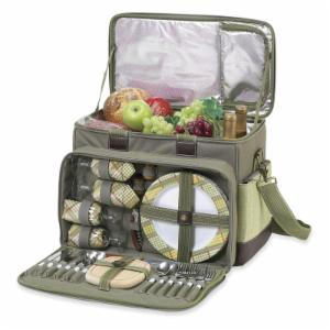 Picnic At Ascot Hamptons Deluxe Insulated Picnic Cooler for 4 - Olive and Tweed