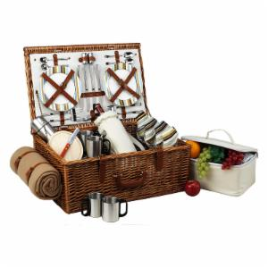 Picnic At Ascot Dorset Wicker Picnic Basket for 4 - Santa Cruz