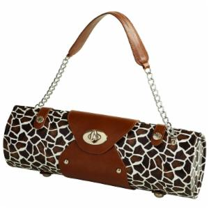 Picnic at Ascot Leather Wine Carrier and Purse - Giraffe