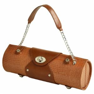 Picnic at Ascot Leather Wine Carrier and Purse - Lizard