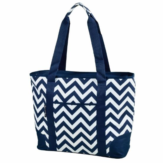 Picnic at Ascot Insulated Cooler Tote Bag - Blue Chevron