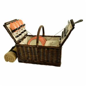 Picnic at Ascot 4 Person Buckingham Willow Picnic Basket with Blanket