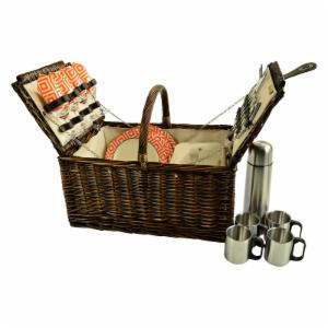 Picnic at Ascot 4 Person Buckingham Willow Picnic Basket with Coffee Set