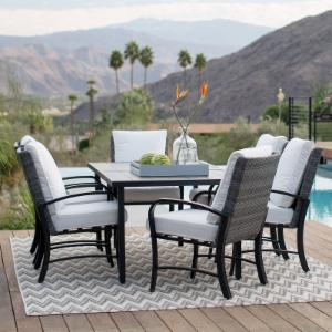 Belham Living Augusta Metal and All-Weather Wicker Patio Dining Set