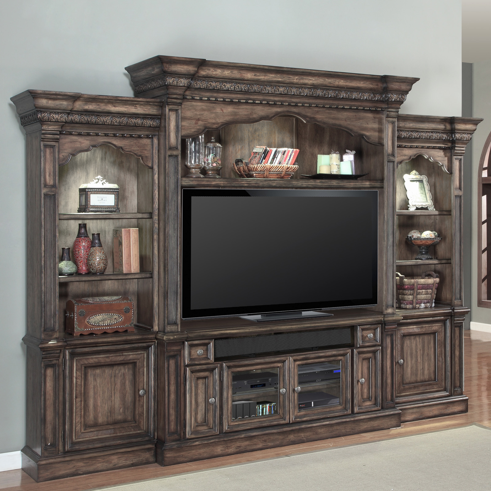 Hammary Dorset Entertainment Center Black with Natural Rub