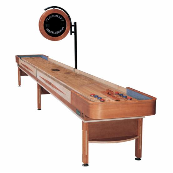 Playcraft Telluride Shuffleboard Table with 3 in. Playfield and Electric Scorer - Honey Finish