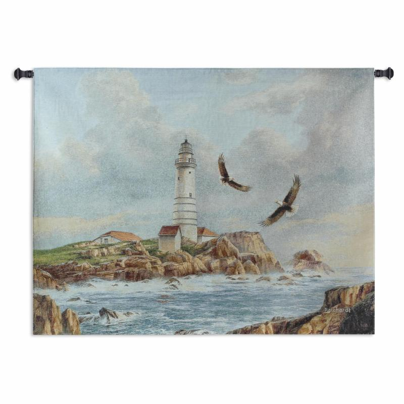 Fine Art Tapestries Boston Lighthouse Wall Tapestry - 2464-WH