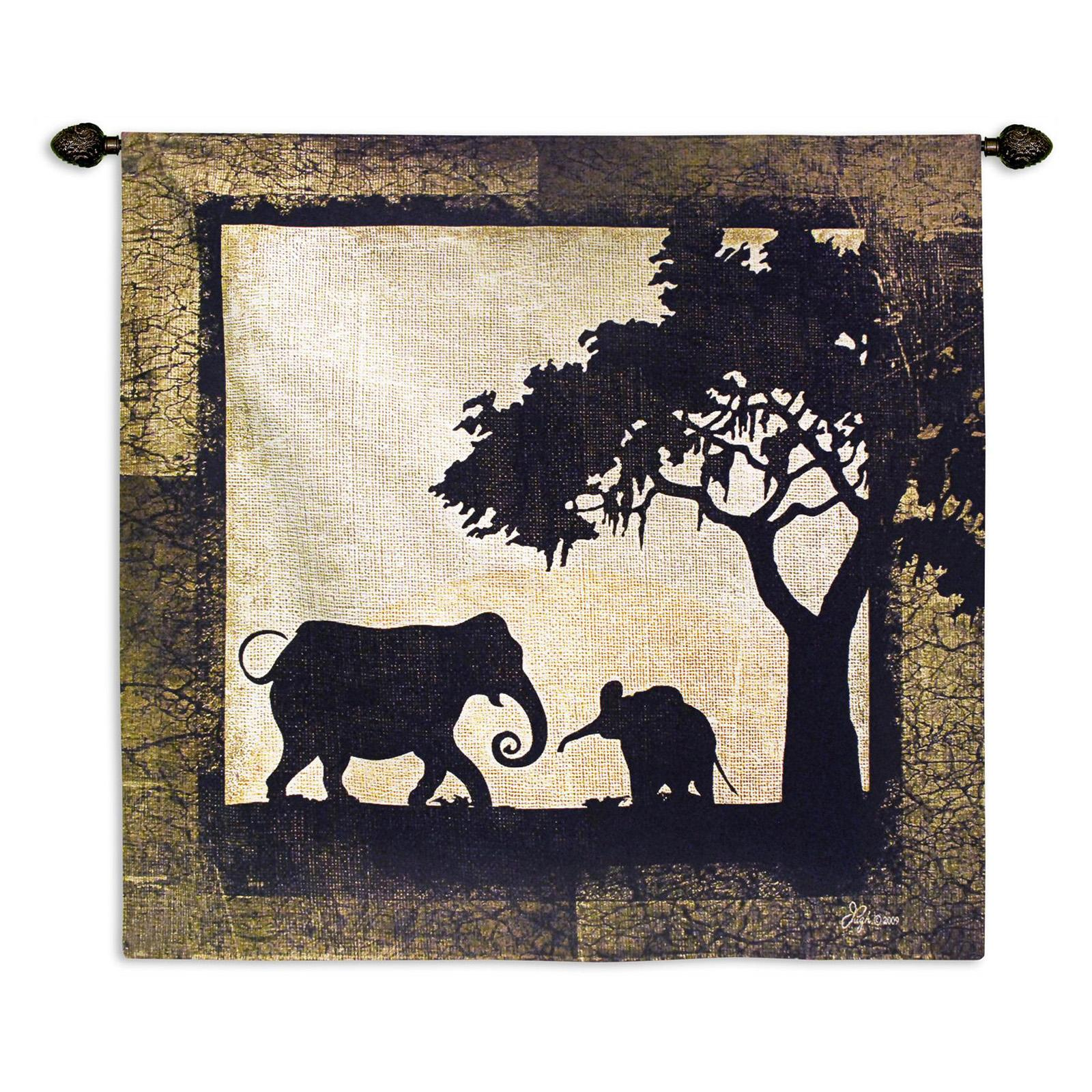 Fine Art Tapestries Serengeti Elephants Wall Tapestry - 6000-WH