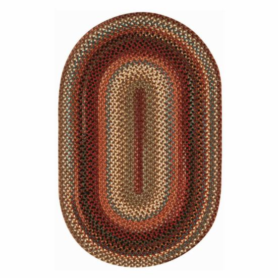 Portland 0346 Concentric Braided Rectangle Area Rug - Brown