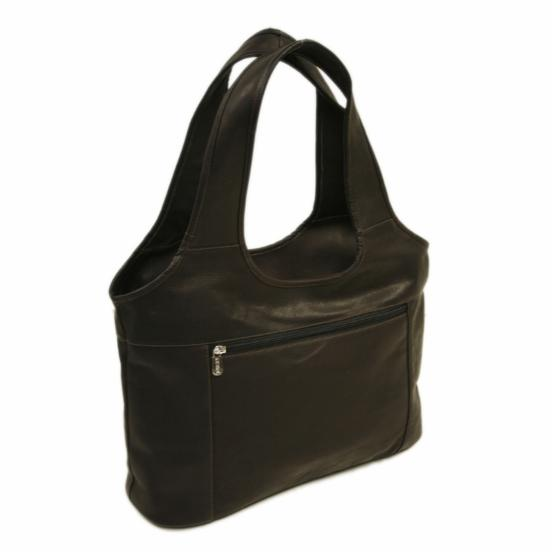 Piel Leather Laptop Hobo - Chocolate
